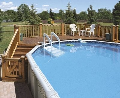 Pool fence with wooden deck & railings