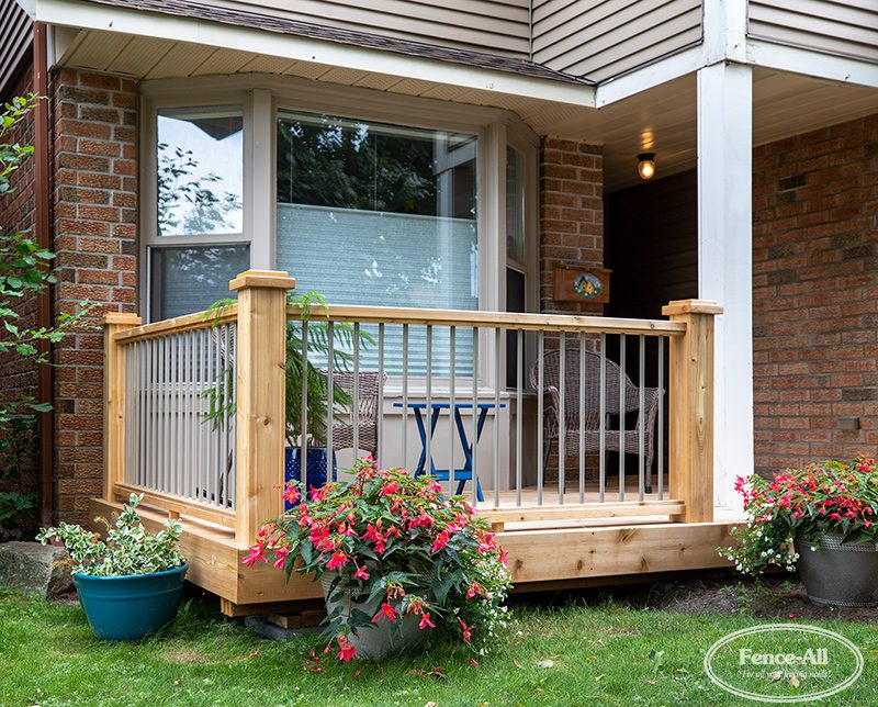 iron/wood railing w/wrapped posts (clay)